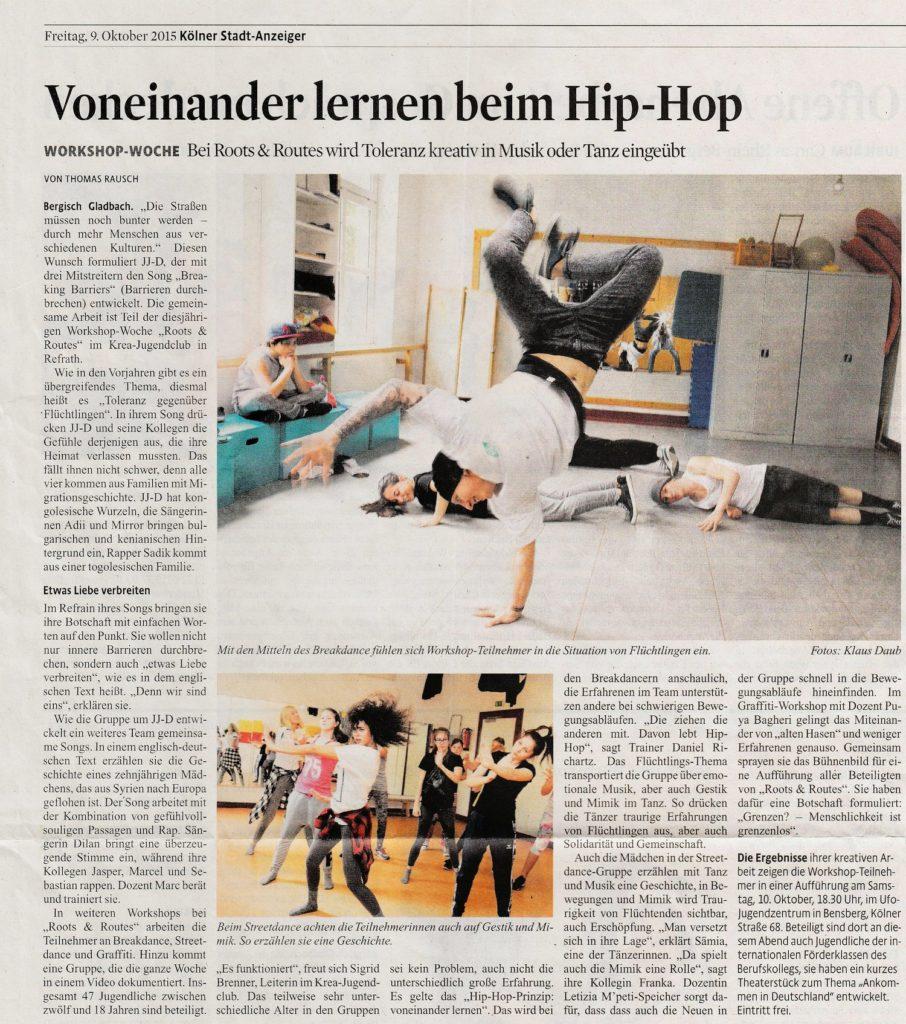 Zeitungsartikel mit dem Titel Voneinander lernen beim Hip-Hop