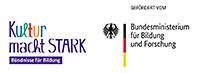 Logo Kultur macht stark. Logo Bundesministerium für Bildung