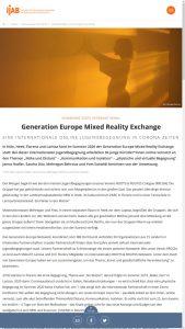 """Screenshot des Artikels """"Generation Europe Mixed Reality Exchange – eine internationale Online-Jugendbegegnung in Corona-Zeiten"""" von der IJAB-Website"""